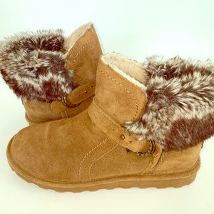 """Bearpaw Bootie """"Margarery"""" Leather w/ Faux Fur"""